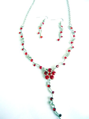 Jay Jewellery - Red acrylic crystal flower silver tone necklace with earrings