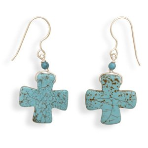 Magnesite Chinese Turquoise Cross Sterling Silver Earrings, Made in the USA