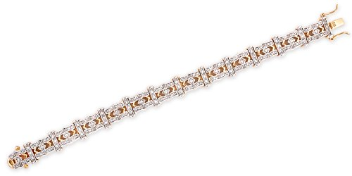 Two-Tone C.Z. Diamond .925 Sterling Silver Bridal Bracelet (Nice Holiday Gift, Special Black Firday Sale)