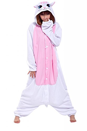 Anim-Unisex Kigurumi Adult Costume Animal Pyjamas With Slippers-White cat