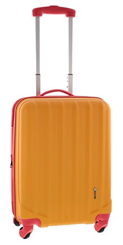 Pianeta / Ibiza Trolley valigia da viaggio bagaglio a mano valigia guscio rigido 100% ABS (arancione/rosso XL (75cm))