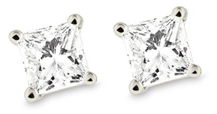 Platinum Princess Cut 1 Carat Diamond 4-Prong Stud Earrings