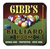 Billiards Pool Room Personalized Coasters, Set of 4