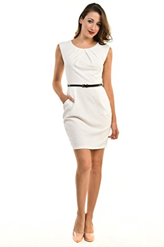 Auliné Collection Women's Color Office Workwear Sleeveless Sheath Dress Off White Medium