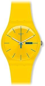 Swatch SUOJ700 - Reloj analógico de cuarzo para niña con correa de plástico, color amarillo