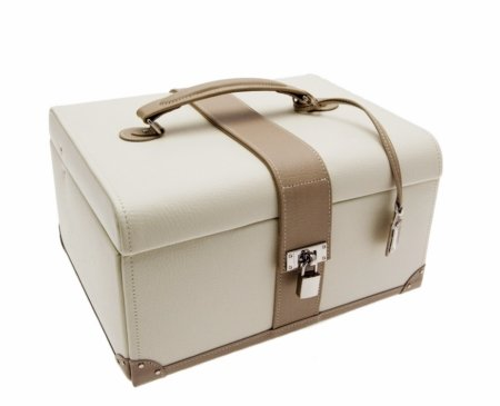 Dulwich Mink and Cream Leather Large Jewellery Box 70061
