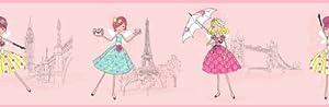 Fine Décor Decorline - Cenefa de papel pintado, diseño de chicas, color rosa de Fine Décor en BebeHogar.com