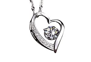 J. Christian Collection - Diamond Heart Necklace Pendant, Sterling Silver, Couples, Relationships, Love