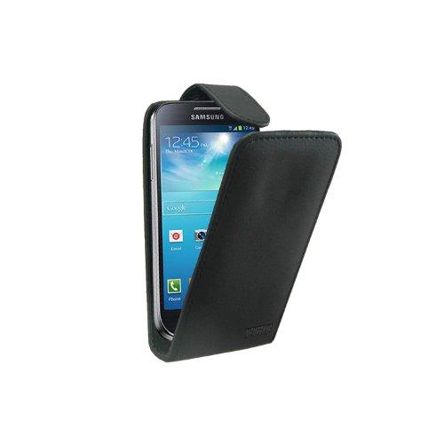 Schwarz Leder Tasche Hülle Samsung Galaxy S4 Mini (GT-i9190 / i9192 Dual Duos / i9195 LTE) - Flip Case Cover + 2 Displayschutzfolie