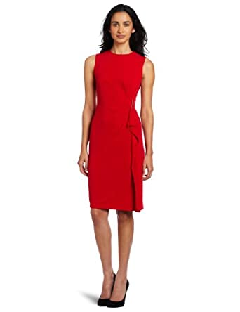 Calvin Klein Women's Side Ruffle Dress, Red, 12