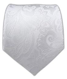 100% Woven Silk White Organic Paisley Tie