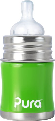 Pura Kiki Stainless Infant Bottle Stainless Steel With Natural Vent Nipple, 5 Ounce, Spring Green, 0-6 Months+ front-964391