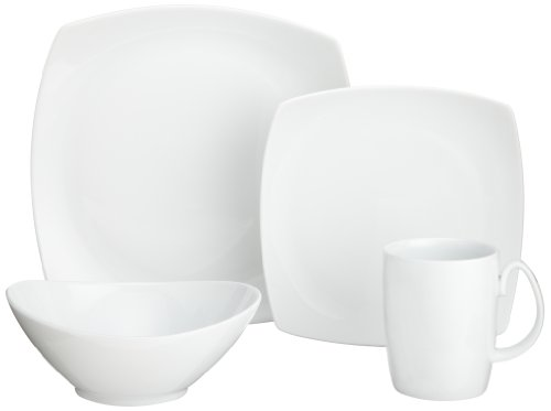 cheap 10 strawberry street aurora white square 16 piece dinnerware set