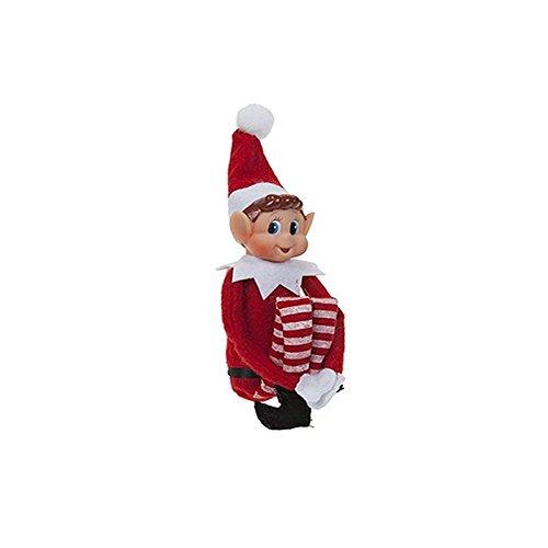 Christmas Elf Soft Toy Smiley Face Sits On Shelf