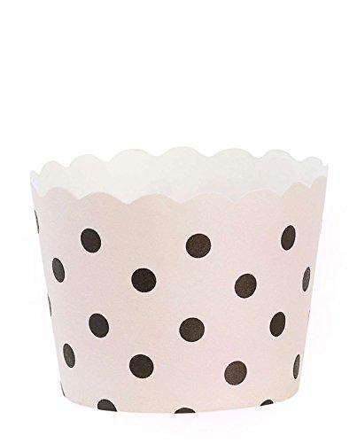Cocción de rosa con forma de L, Diseño de papel de colour negro de punto 24cups B: 6.5 ø7, 5cm