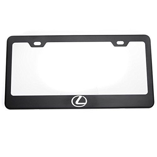 One Matte Black Lexus Logo Mirror Stainless Steel License Plate Frame Holder Front Or Rear Bracket Laser Engrave Steel Screw Cap (Lexus Rx300 License Plate Bracket compare prices)
