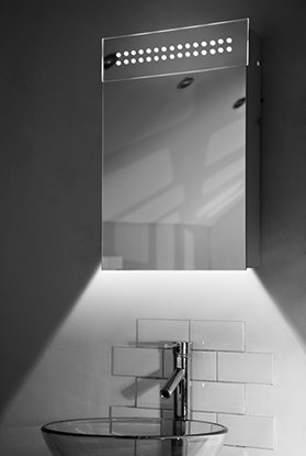 Diamond X Collection Ambient White Bathroom Mirror Cabinet with Demisting pad, Sensor & Internal Shaver Socket K4 (H)600 x (W)400mm x (D)115mm