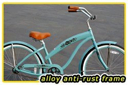 Anti-Rust Aluminum Frame, Fito Modena Alloy 1-speed Women's Sky Blue Beach Cruiser Bike Bicycle