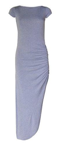 Womens Cap Sleeved Ruche Side Split Maxi Dress (Bw) ((Us 4/6) (Uk 8/10), Light Grey)