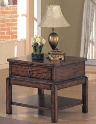 Cheap Antique Brown Finish Wood Occasional End Side Table w/Drawer (VF_700417)
