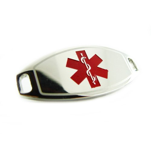 My Identity Doctor - Heart Angina Steel Medical ID Tag, Attachable To Bracelet Pre-Engraved