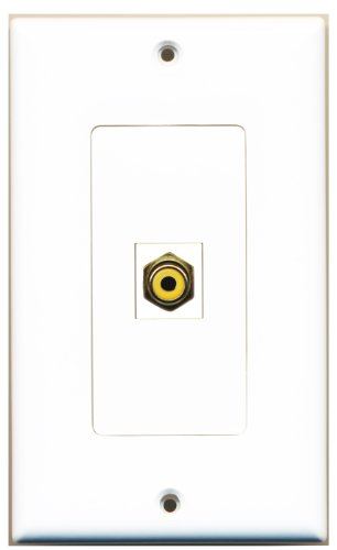 Riteav - 1 Rca Yellow For Subwoofer / Audio Port Wall Plate Decorative White