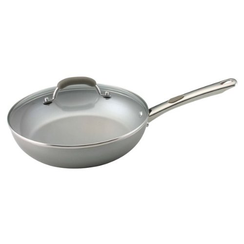Farberware Specialties Aluminum Nonstick 10-1/2-Inch Deep Covered Skillet, Champagne (Frying Pan Deep compare prices)