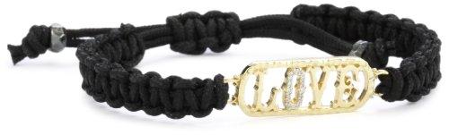 Mizuki 14k Poly Silk Macramé Bracelet with Diamond Love Tag Charm