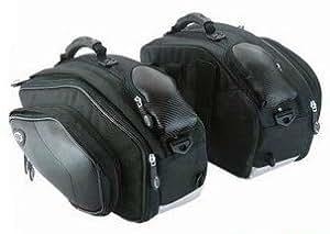 ヘルメット入る大容量サイズ バイク用 サイドバッグ【2個セット】ツーリングや旅行 に使える レインカバー付