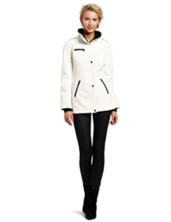 Jessica Simpson Women's Cinched Back Softshell Jacket, White, X-Large