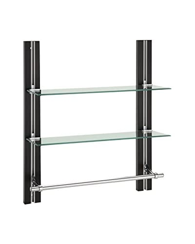 Organize It All 2-Tier Adjustable Glass Shelf With Towel Bar, Dark Brown