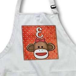 Dooni Designs Monogram Initial Designs - Cute Sock Monkey Girl Initial Letter E - Aprons