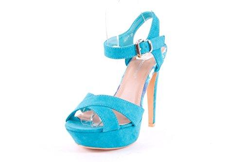 J277T FRANCESCO MILANO sandalo donna con plateau tacco alto (37, Azzurro)