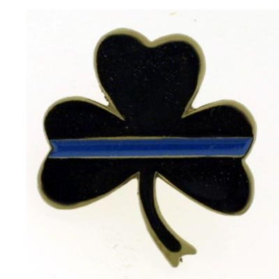 Thin Blue Line Shamrock Pin Package of 12
