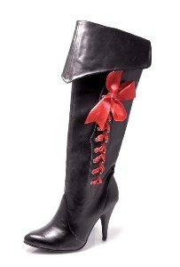 Black Pirate Boots Costume Shoes - Size 7