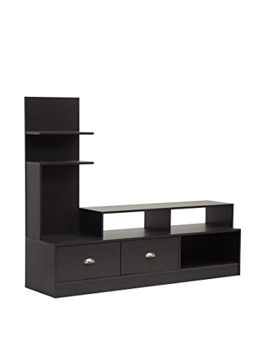 Baxton Studio Ftv-906 Armstrong Modern Tv Stand With Built-In Vertical Side Console, Dark Brown