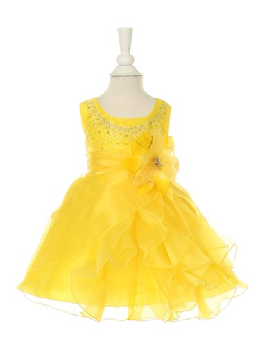 Cinderella Couture Baby-Girls Cascading Organza Dress Yellow Lg 18M (B1101)