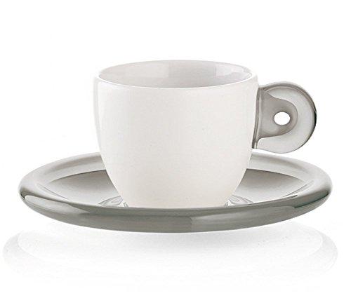 Guzzini Gocce Espresso Cups, 1-1/2-Fluid Ounces, Set of 2, Grey