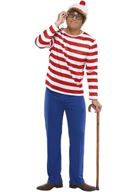WHERE'S WALLY FANCY DRERSS COSTUME TOP, TROUSERS, HAT MEDIUM