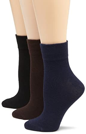 ECCO Women's 3-Pack Comfort Top Sock,Black/Navy/Brown,9 to 11