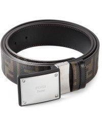 Fendi Logo Plaque Buckle Belt Cintura Placca Zucca Havana Brown Reversible New