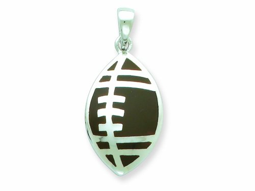 Sterling Silver Resin Football Pendant - Chain Included LIFETIME WARRANTY