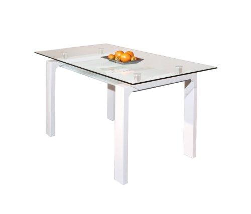 50700350 Esstisch Küchentisch Glastisch Esszimmer Tisch Küche weiß Glas Ablage 150x80 cm