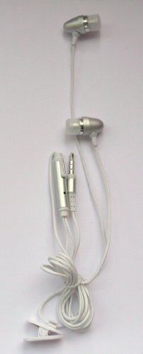 FLASH SUPERSTORE SILVER IN EAR STEREO HANDFREE HEADSET WITH MICROPHONE SUITABLE FOR NOKIA E75