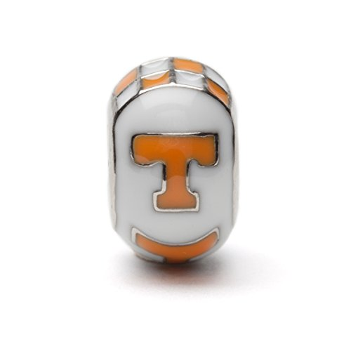 University of Tennessee White and Orange T Bead Charm For Bracelet or Necklace - Fits Pandora