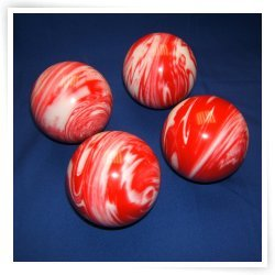 Premium Quality EPCO 4 Ball 107mm Tournament Bocce Set - Marbled Red/White [T...