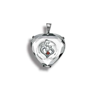 Charm Necklace Pendant Jewelry Sterling Silver Mother & Child Forming Heart w/ Garnet CZ Covered w/ Glass Design(WoW !With Purchase Over $50 Receive A Marcrame Bracelet Free)