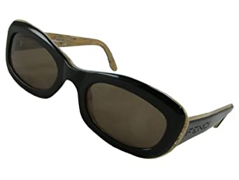 Fendi Sunglasses, FS207, Black Horn Frame/ Dark Brown Lenses