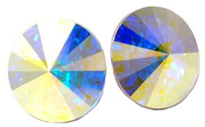 12 Mm Iridescent Aurora Borealis Swarovski Crystal Elements Multi Faceted Round Stud Earrings, Hypoallergenic Posts