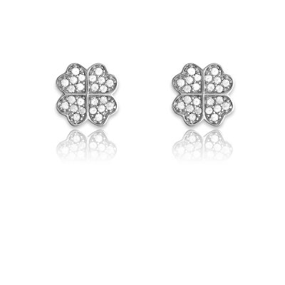 Simple Yet Pretty Stud Earrings in Geanuine Sterling Silver w/ CZ 4-Leaf Clover Design(WoW !With Purchase Over $50 Receive A Marcrame Bracelet Free)
